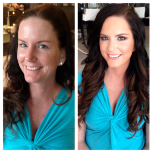 Before and after hair & makeup