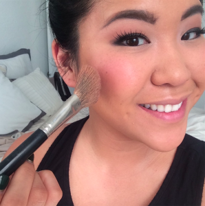 Pink blush then buffed out with bronzer